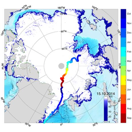 Rota possível. O Polastern seria levado ao topo do mundo e liberado no Estreito de Fram, entre a Groenlândia e o arquipélago norueguês de Svalbard.