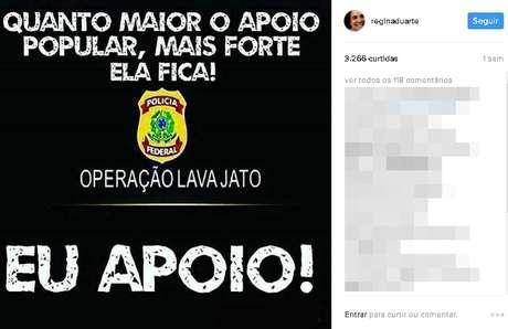 Mensagem divulgada por Regina Duarte em sua rede social
