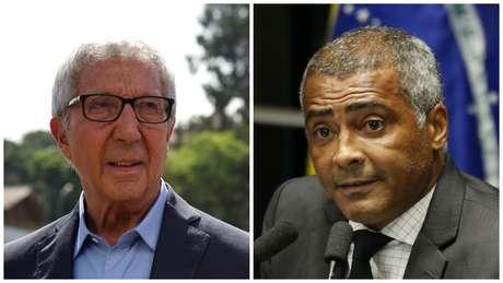O empresário Abilio Diniz e o senador e ex-jogador Romário são bem vistos pela oposição da CBF para a próxima eleição