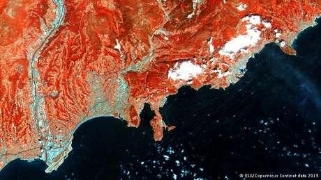 Imagem da Riviera Francesa captada pelo Sentinel 1A