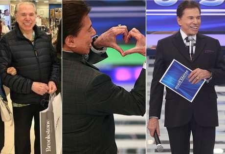 Silvio com sacola de compras, na Flórida, e em seu programa no SBT