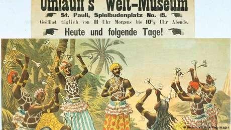 Cartaz de um zoo organizado por Carl Hagenbeck em 1883
