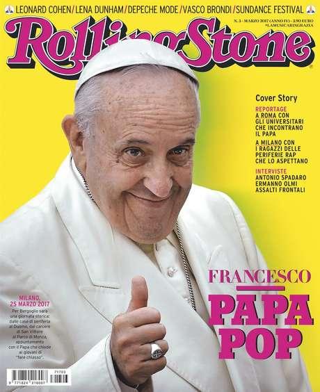 Papa Francisco faz joinha na capa italiana da revista Rolling Stone