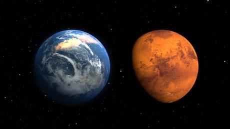 Marte no passado (à esq.) e agora, segundo ilustração feita pela Nasa
