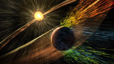 Quando Marte perdeu o campo magnético, sua atmosfera foi progressivamente eliminada