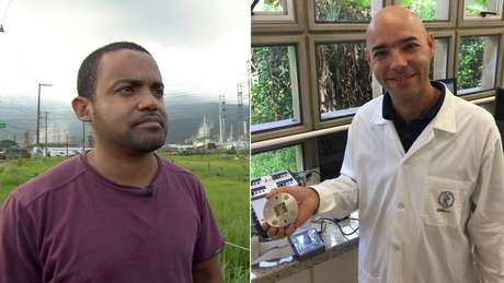 Os engenheiros Cleiton Jordão e Mauro Braga tentam encontrar soluções para combate à poluição em Cubatão