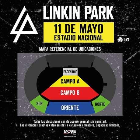 Este es el nuevo mapa de ubicaciones del concierto de Linkin Park en Perú.
