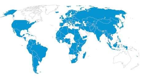 Mapa mostra país de origem de pelo menos uma vítima de tráfico encontrada no oeste e no sul da Europa, entre 2012 e 2014