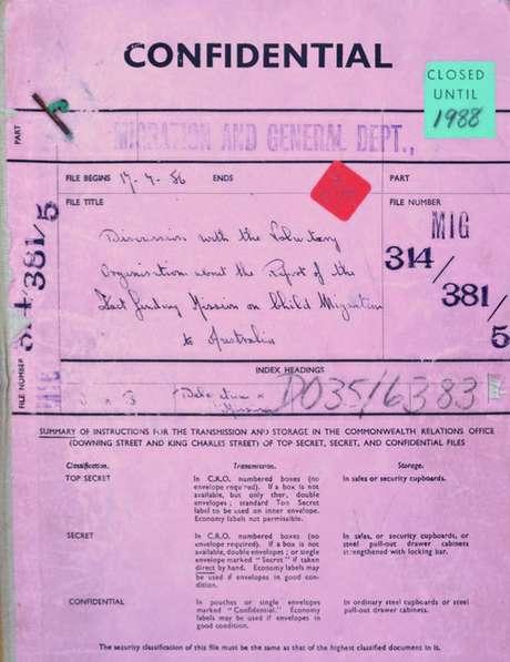 Documento confidencial do governo britânico da missão de inspeção das instituições.