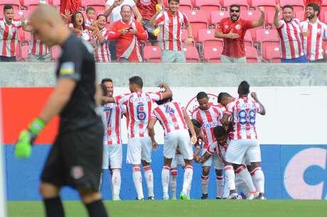 Comemoração do gol do Náutico na partida válida pela Copa do Nordeste de 2017, realizado na Arena Pernambuco.