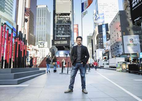 "In this March 2, 2017 photo, director-producer J.J. Abrams poses for a portrait to promote ""The Play That Goes Wrong"" in Times Square in New York."
