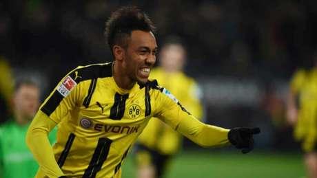 Aubameyang fez o gol do Dortmund (Foto: AFP)