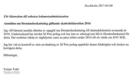 Em nota enviada à administração do Parlamento sueco, o deputado informa que deixou de declarar a compra de um saco de amendoim e um bilhete de trem para viagem de caráter pessoal, e pede que o erro seja corrigido
