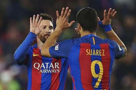 Messi y Suárez celebran un gol del Barcelona