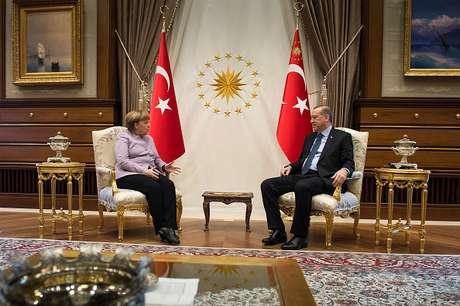Ângela Merkel e Recep Tayyip Erdogan