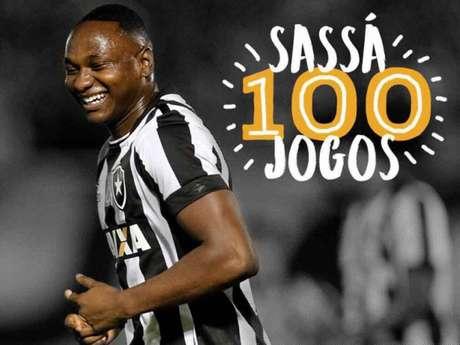 Sassá completou 100 jogos pelo clube no duelo contra o Vasco, no último final de semana (Reprodução/Botafogo)