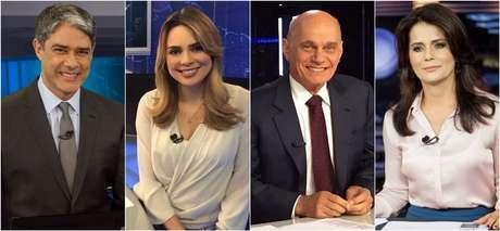 William Bonner, do 'JN', Rachel Sheherazade, do 'SBT Brasil', Ricardo Boechat, do 'Jornal da Band', e Adriana Araújo, do 'JR': em alta no Ibope