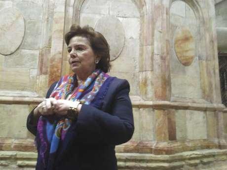 Imagem de Antonia Moropoulou, a responsável pela restauração da Edícula e da Cúpula que protegem o túmulo de Jesus Cristo.