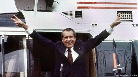 Nixon após a renúncia, em 1974: único meio de escapar do impeachment