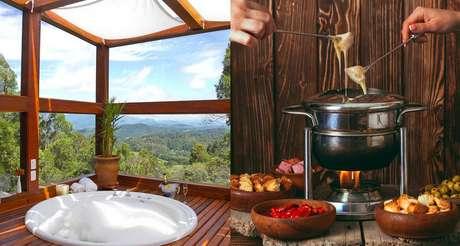 Lareira, hidromassagem, fondue e vinho para curtir o frio com seu amor!