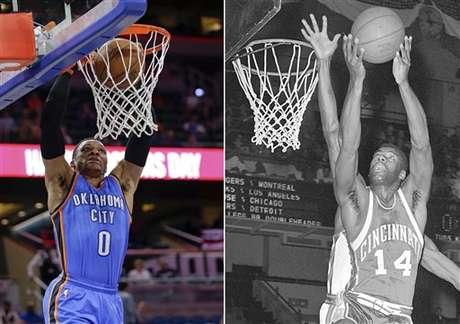 ARCHIVO - A la izquierda, una foto del 29 de marzo de 2017 en la que aparece Russell Westbrook del Thunder de Oklahoma City. A la derecha, una foto del 3 de abril de 1962 en la que aparece Oscar Robertson de Cincinnati