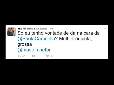 Internauta ameaça Paola Carosella após 'MasterChef' desta terça-feira, 4 de abril de 2017