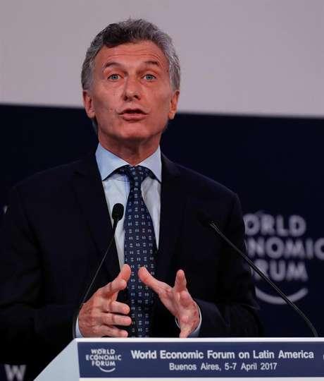 Em paralelo aos protestos, em Buenos Aires acontece a 1ª jornada do Fórum Econômico Mundial para a América Latina, inaugurado por Macri (foto).