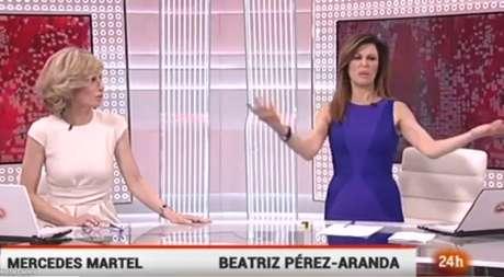 Beatriz Pérez-Aranda haciendo gestos sin darse cuenta de que la estaban enfocando