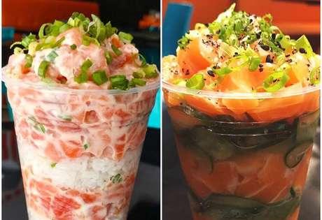 """Ao invés da alga, o """"temaki"""" é servido em um copo de plástico"""