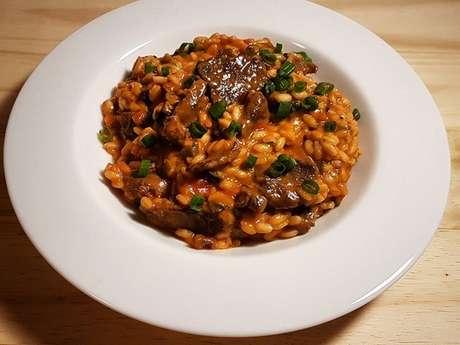 Risoto de picanha com tomate e gorgonzola