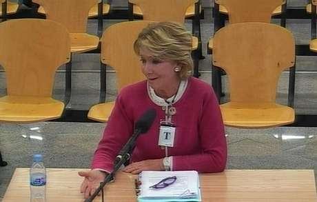 La expresidenta madrileña Esperanza Aguirre, durante su declaración como testigo en el macrojuicio del caso Gürtel