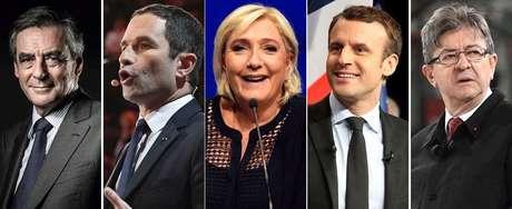 Principais candidatos à Presidência da França, da esquerda para a direita: François Fillon, Benoit Hamon, Marine Le Pen, Emmanuel Macron e Jean-Luc Mélenchon