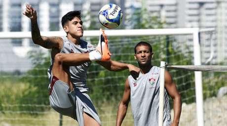 Pedro em treino do Fluminense no CT (Foto: Mailson Santana/Fluminense FC)