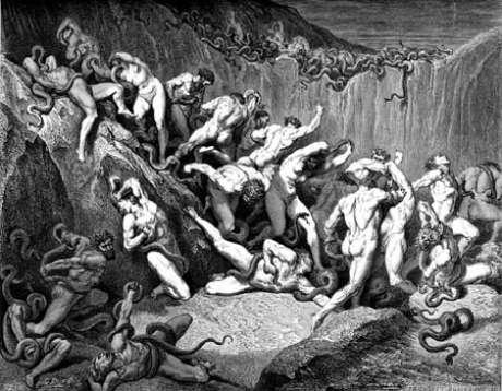 Serpentes atacam ladrões na obra 'Divina Comédia'