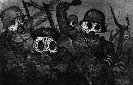 Tropa de assalto em meio a um ataque de gás (Otto Dix, 1924)