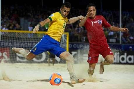 Brasil tem 100% de aproveitamento contra o Taiti (Foto: Divulgação / BSWW)