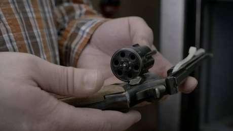 A pistola usada por Nathon no ataque