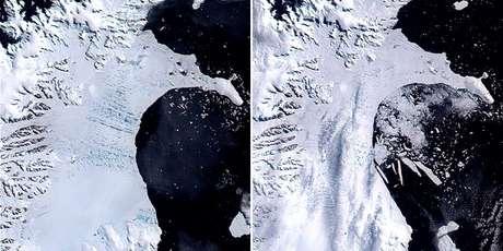 A plataforma Larsen B era composta de milhares de lagos de água derretida antes que icebergs se desprendessem do continente, em 2002
