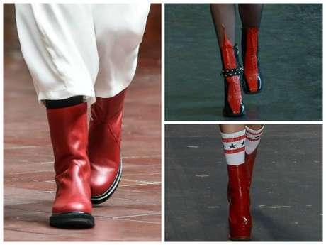 Botas vermelhas no SPFW