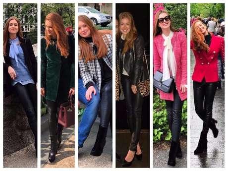 Marina Ruy Barbosa compõe 6 looks com a mesma calça e dá show de estilo em NY