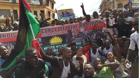 Prisão de Kanu levou a diversos protestos na Nigéria
