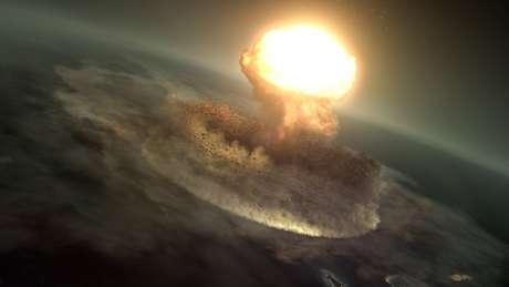 Imagem recriada: O asteroide atingiu a Terra com um energia equivalente a dez bilhões de bombas de Hiroshima
