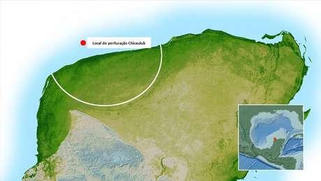 Local onde está a cratera conhecida como Chicxulub e é alvo das perfurações