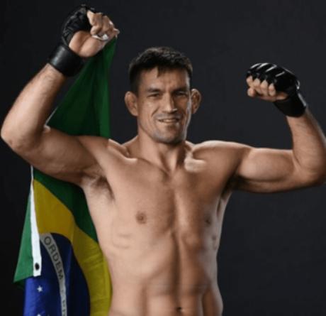Demian Maia comemora vitória com bandeira do Brasil