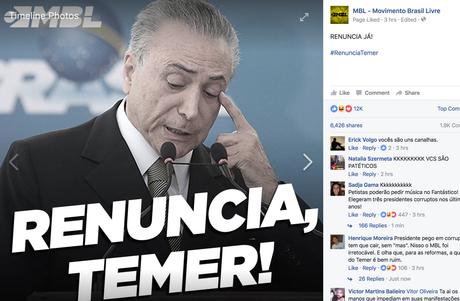 Página no Facebook do Movimento Brasil Livre pede renúncia do presidente Michel Temer