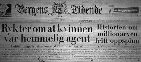 """Manchete do jornal Bergens Tidende: """"Rumores apontam que a mulher era uma agente secreta"""""""