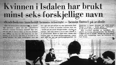 """A manchete do jornal Bergens Tidende, no diz 23 de dezembro de 1970: """"A mulher de Isdalen usava pelo menos seis nomes diferentes"""""""