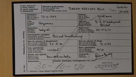 Neste formulário, a mulher disse ter chegado de Londres