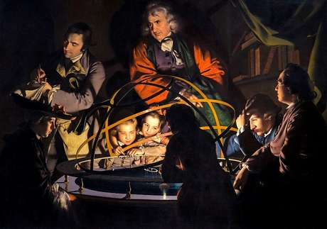 'A Lâmpada se opõe ao Sol' tela de J. Wright of Derby (1766)