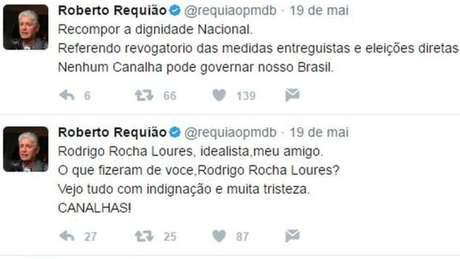 Tweets do Senador Roberto Requião no dia em que Loures foi preso
